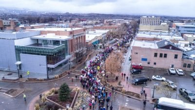 The Women's March stretched the length of Main St.