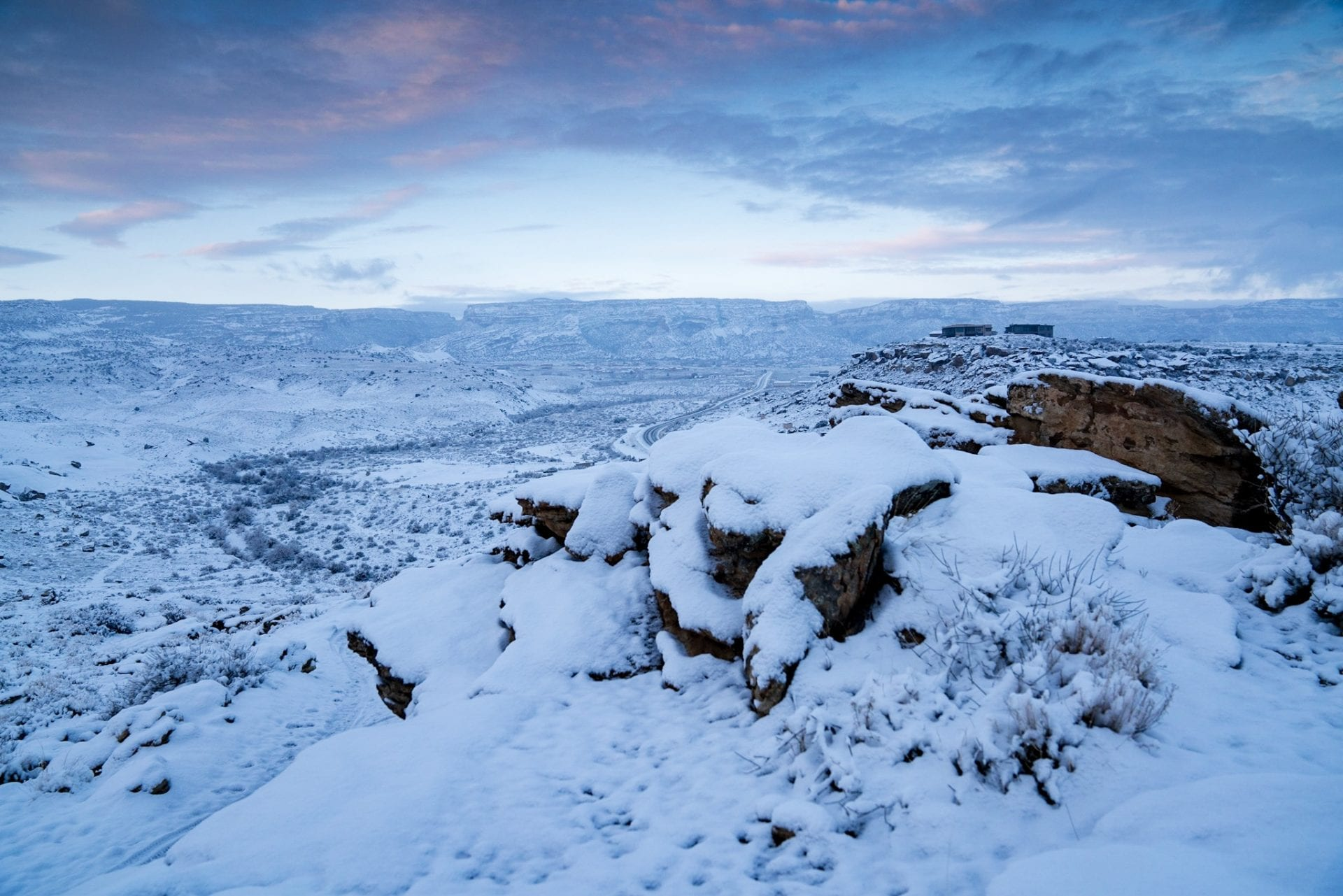 Dawn lifts to reveal snow at the Lunch Loops