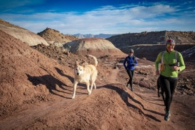 Miles and his owner and her friend run a desert trail in the Lunch Loops trail system in Gran Junction, Colorado